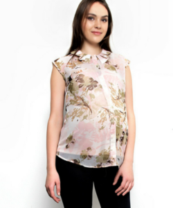 Printed Collar Top