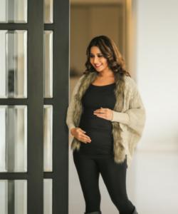 Beige Woollen Maternity Cape with Fur