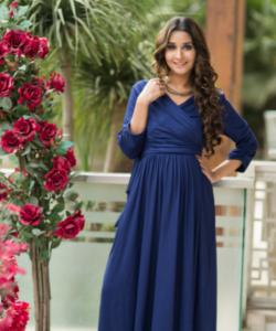 Blue Contrast Front Wrap Maternity & Nursing Dress