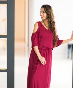 Burgandy Cold Shoulder Maternity & Nursing Maxi Dress