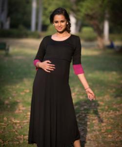 Elegant Black and Pink Lift Up Nursing Dress