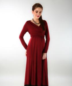 Elegant Wine front wrap maternity dress