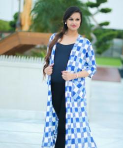 Ikat Flamboyant Blue Long Maternity Cover Up