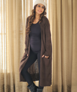 Longline Chocolate Brown Maternity Cardigan