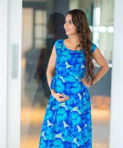Tropical Blue Maternity & Nursing Maxi Dress