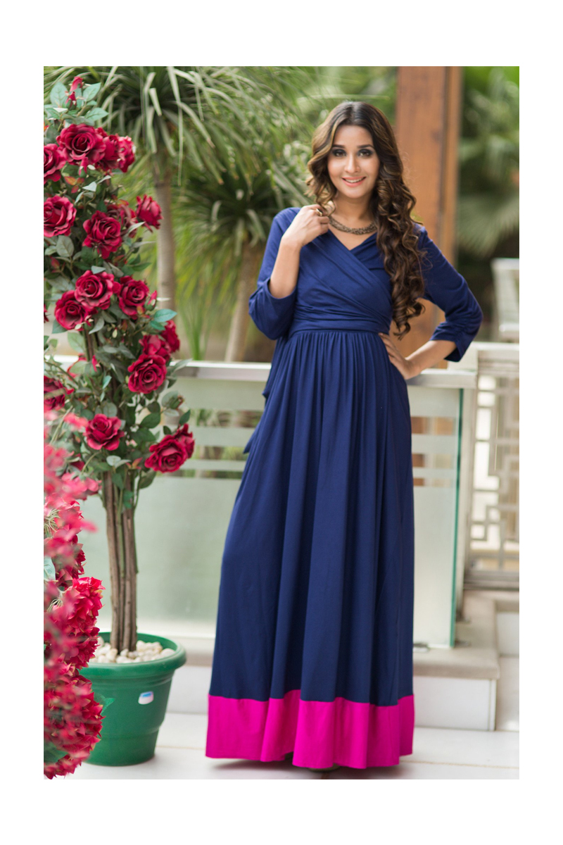 1ee69a7e517 Momzjoy Blue Contrast Front Wrap Maternity and Nursing Dress - All ...