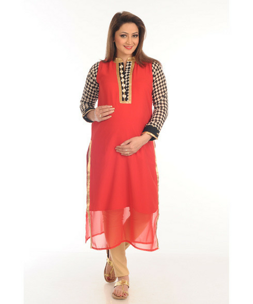 House of Napius Radiation Safe Check Print Sleeves Chiffon Kurti