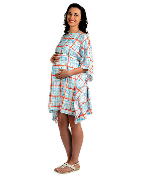 House of Napius Radiation Safe Checks Round Neck Maternity Dress