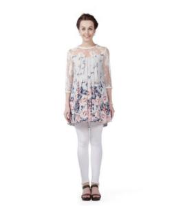 House of Napius Radiation Safe Floral Lace Yoke & Sleeve Tunic