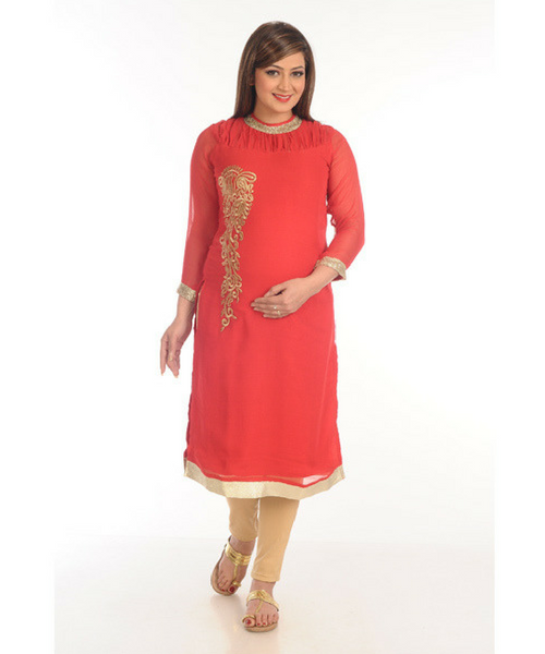 House of Napius Radiation Safe Gold Emb Georgette Kurti