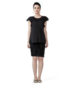 House of Napius Radiation Safe Satin Georgette Top and Lace Skirt