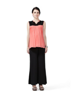 House of Napius Radiation Safe Sleeveless Sequin Yoke Top And Solid Crepe Plazo
