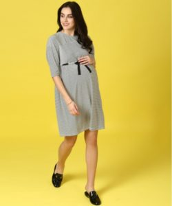 Drop Shoulder Striped Dress with Tie Up
