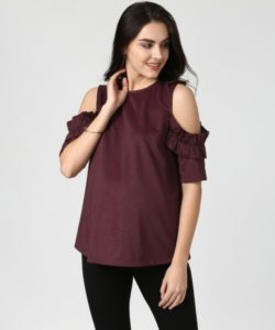 Frill Detail Cold Shoulder Top