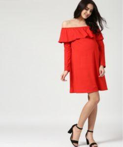 Full Sleeves Off Shoulder Dress Red