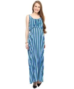 Blue Stripped Maternity Maxi (1)