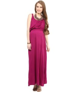 Plum Maxi Maternity Dress (1)