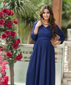 Blue Contrast Front Wrap Maternity & Nursing Dress (1)