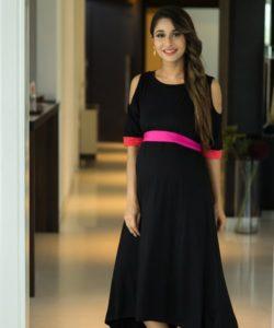Chic Black Cold Shoulder Maternity Dress (1)