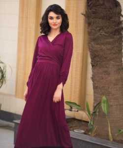 Elegant Mulberry Wine Front Wrap Maternity & Nursing Dress (1)