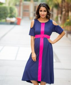 Midnight Blue Cold Shoulder Stretchable Maternity Dress (1)