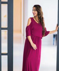 Sangria Cold Shoulder Maternity & Nursing Maxi Dress (1)