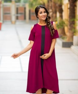 Wine Red Cold Shoulder Stretchable Maternity Dress (1)