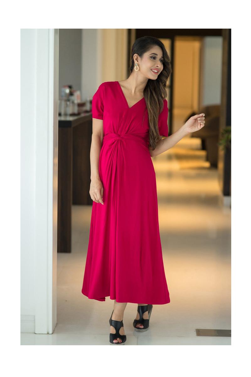 b7f3c8b81de Momzjoy Royal Carnation Front Knot Lycra Maternity Dress - All ...