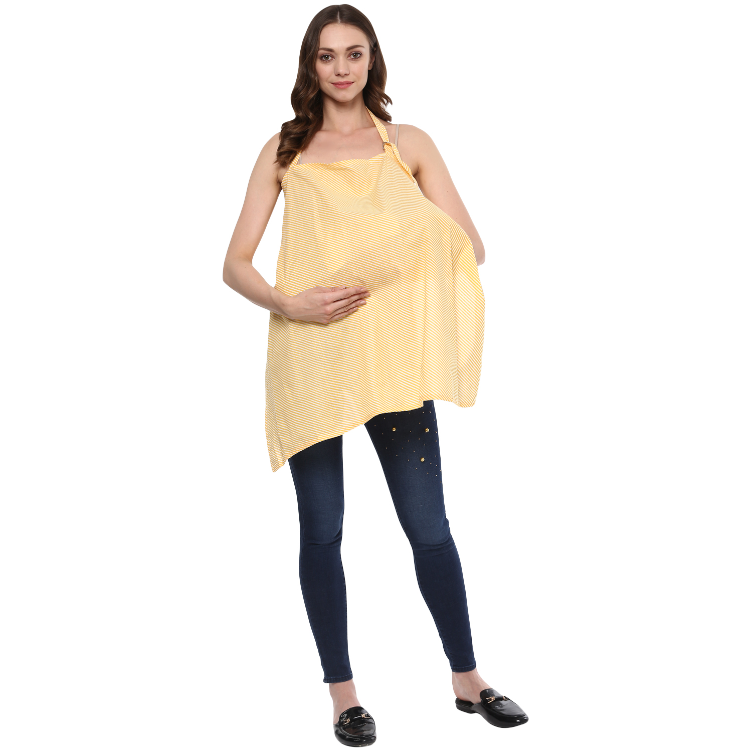 Wobbly Walk Yellow Striped Cotton Nursing Cover All
