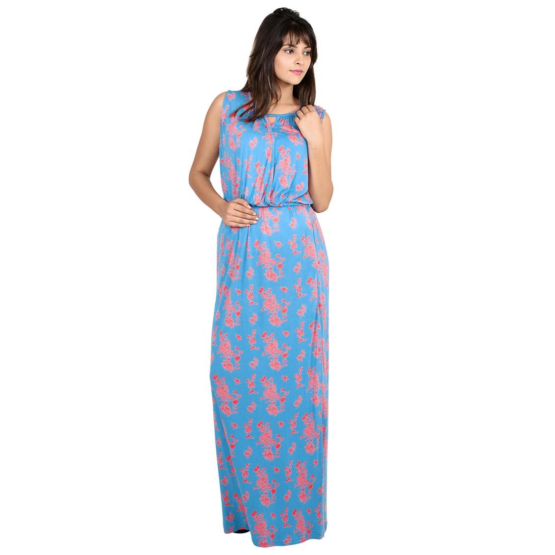 65751e4f69522 9teenagain Floral print nursing maxi dress (Blue) - All Maternity ...