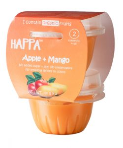 Happa Organic Apple + Mango Puree, Baby food for 6 months+, Stage-2, 110 g Tub, 2 Count (1)