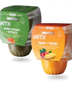 Happa Organic Baby food, Variety pack (Sweet Potato + Spinach, Apple + Mango) Puree, Stage-2,4x110 g Tub(1)