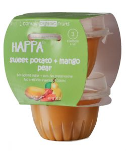 Happa Organic Sweet Potato + Mango +Pear Puree, Baby food for 6 months+, Stage-2, 110 g Tub, 2 Count (1)