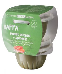 Happa Organic Sweet Potato + Spinach Puree, Baby food for 6 months+, Stage-2, 110 g Tub, 2 Count (1)