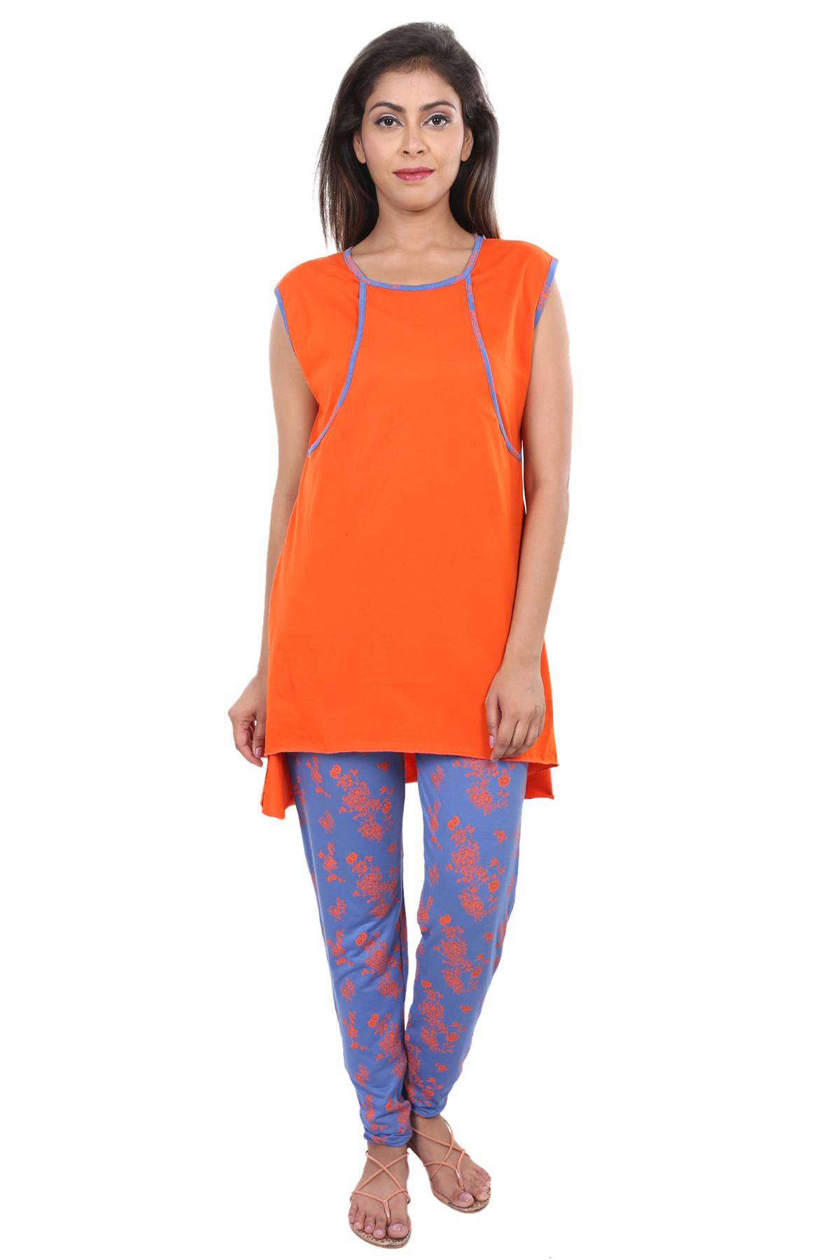 56ddbcb7f1872 9teenAGAIN Women's Viscose Lycra Nursing Nightsuit Set (Orange ...
