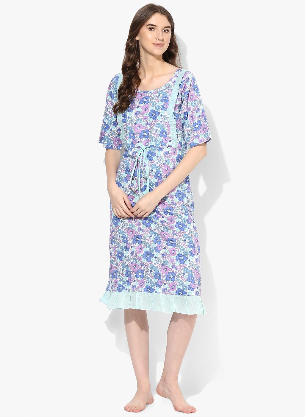 54b0ef261f100 9teenAGAIN Women's Floral Printed Nursing Night Dress - All ...